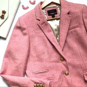 J. Crew Herringbone Schoolboy Wool Blazer Pink